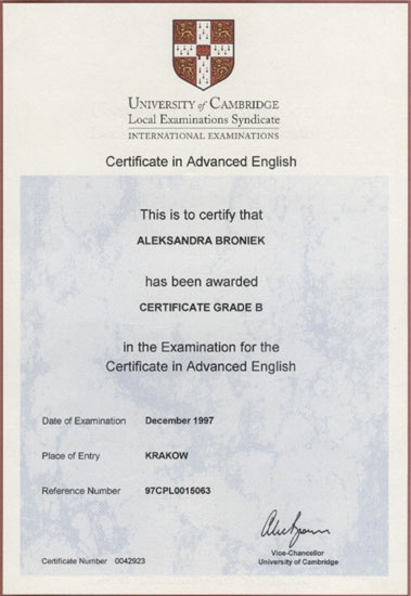 Certificate in Advanced English