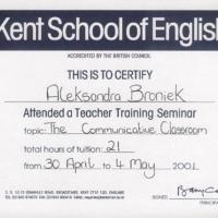 Wyjazdy zagraniczne w celach edukacjnych: 2 Seminaria metodyczne (Teacher Training Seminar) w Broadstairs w Anglii:
