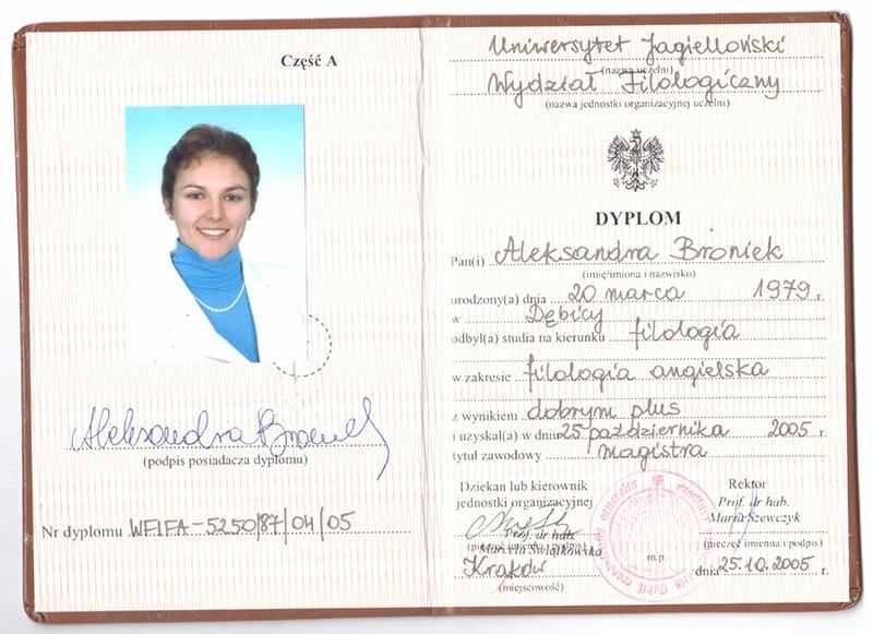 Filologia Angielska, studia magisterskie, Uniwersytet Jagielloński, 2005