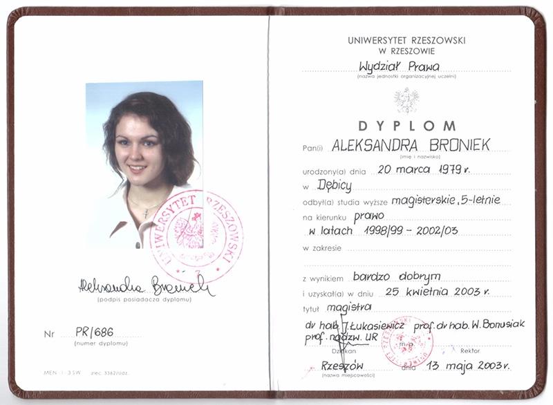 Prawo, studia magisterskie, Uniwersytet Rzeszowski, 2003