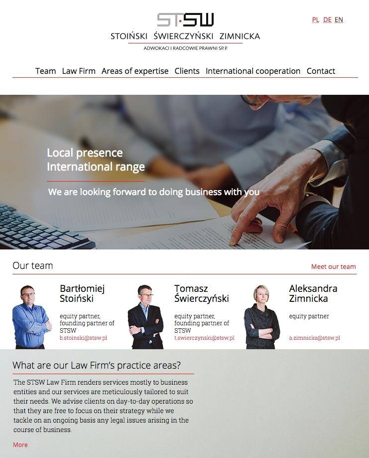 Angielska wersja strony internetowej kancelarii STSW: www.stsw.pl/en/