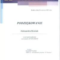 IP Student Warsztaty, przeprowadzenie wykładu z zakresu tłumaczenia umów w IP Law, Kraków, 26 czerwiec 2009